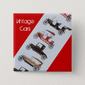 Vintage Cars Gathering Classic Automotive Red Grey 15 Cm Square Badge