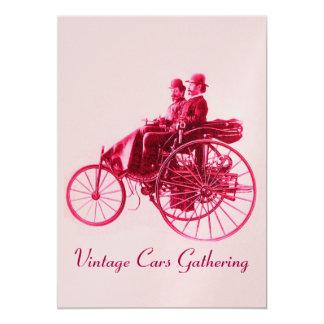 ViNTAGE CARS GATHERING ,gold red fuchsia pink 13 Cm X 18 Cm Invitation Card