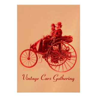 ViNTAGE CARS GATHERING ,gold red fuchsia pink Custom Invite