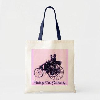 ViNTAGE CARS GATHERING ,pink blue Tote Bag