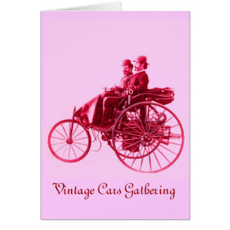 Vintage Cars Gathering , pink violet fuchsia red Greeting Card