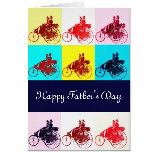 Vintage Cars Gathering Pop Art Father's Day Greeting Cards