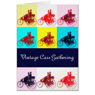 Vintage Cars Gathering Pop Art Greeting Card