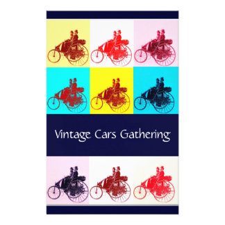 ViNTAGE CARS GATHERING POP ART Personalised Stationery