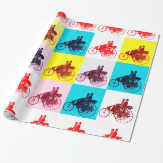 VINTAGE CARS GATHERING POP ART WRAPPING PAPER