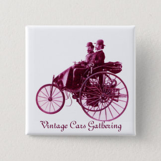 Vintage Cars Gathering , purple  pink violet white 15 Cm Square Badge