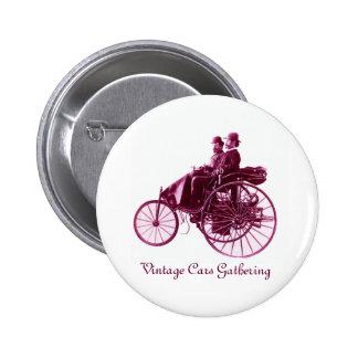Vintage Cars Gathering , purple  pink violet white Pins