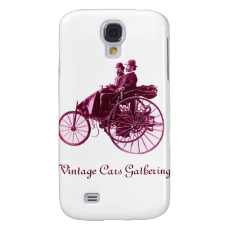 Vintage Cars Gathering , purple  pink violet white Galaxy S4 Case