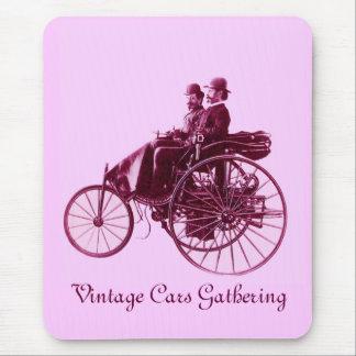 Vintage Cars Gathering purple pink violet white Mousepad