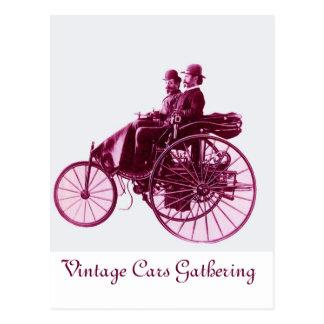 Vintage Cars Gathering , purple  pink violet white Postcard