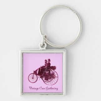 Vintage Cars Gathering , purple  pink violet white Silver-Colored Square Key Ring