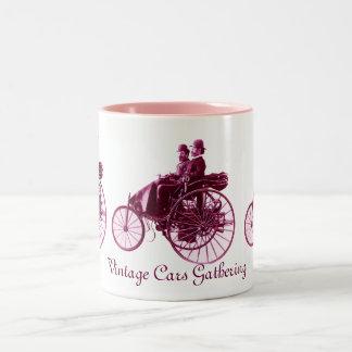 Vintage Cars Gathering , purple  pink violet white Two-Tone Mug