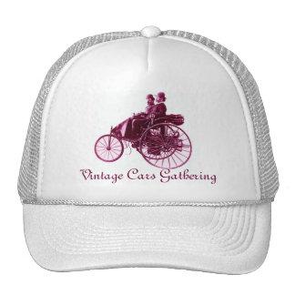 Vintage Cars Gathering , purple white Cap