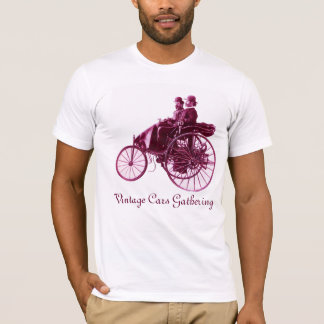 Vintage Cars Gathering , purple white T-Shirt