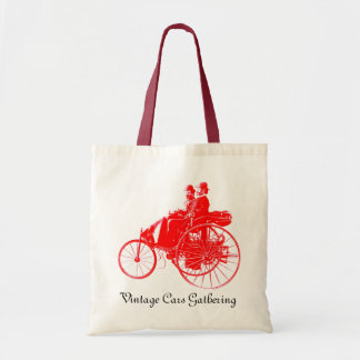 Vintage Cars Gathering , red and white Budget Tote Bag