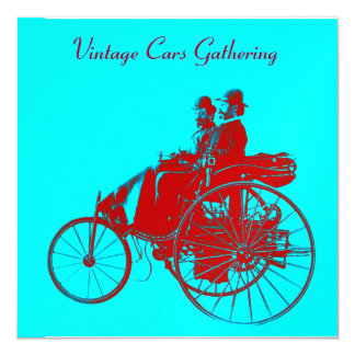 """ViNTAGE CARS GATHERING red blue turquase ice metal 5.25"""" Square Invitation Card"""