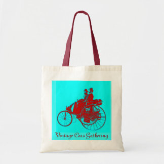 ViNTAGE CARS GATHERING ,red blue turquase Budget Tote Bag