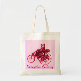 ViNTAGE CARS GATHERING , red pink fuchsia white Budget Tote Bag