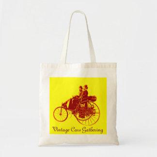 ViNTAGE CARS GATHERING , yellow brown Canvas Bag