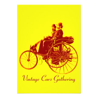 ViNTAGE CARS GATHERING ,yellow brown Personalized Invitations