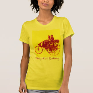 Vintage Cars Gathering , Yellow,red,brown T-Shirt