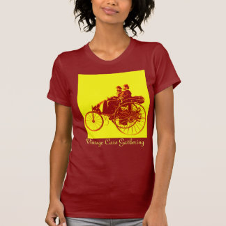 Vintage Cars Gathering , yellow red brown Tshirt