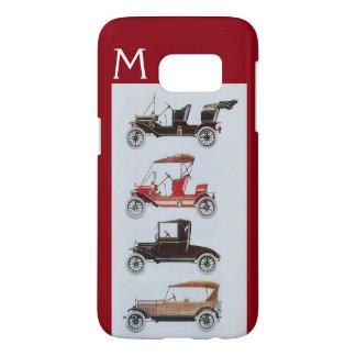 VINTAGE CARS  GREY RED MONOGRAM