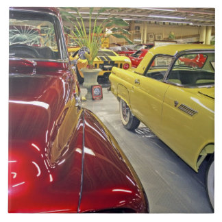 Vintage cars in Tallahassee Automobile Museum Large Square Tile