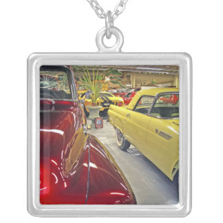 Vintage cars in Tallahassee Automobile Museum Silver Plated Necklace