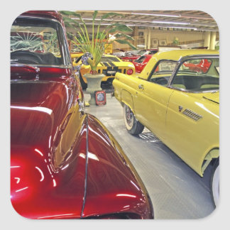 Vintage cars in Tallahassee Automobile Museum Square Sticker