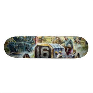 Vintage Cars Racing Scene,train painting 21.3 Cm Mini Skateboard Deck