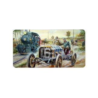 Vintage Cars Racing Scene,train painting Address Label