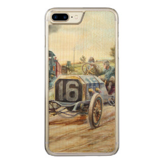 Vintage Cars Racing Scene,train painting Carved iPhone 7 Plus Case