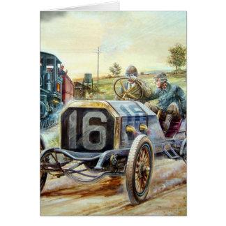 Vintage Cars Racing Scene,train painting Greeting Card