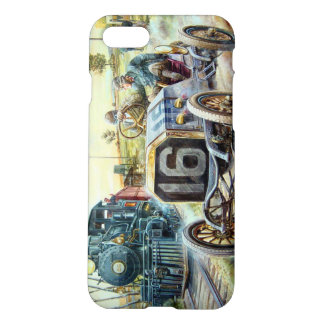 Vintage Cars Racing Scene,train painting iPhone 7 Case
