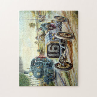 Vintage Cars Racing Scene,train painting Jigsaw Puzzle