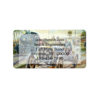 Vintage Cars Racing Scene,train painting Label