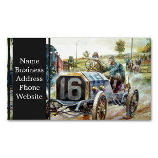 Vintage Cars Racing Scene,train painting Magnetic Business Cards