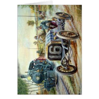 Vintage Cars Racing Scene,train painting Note Card