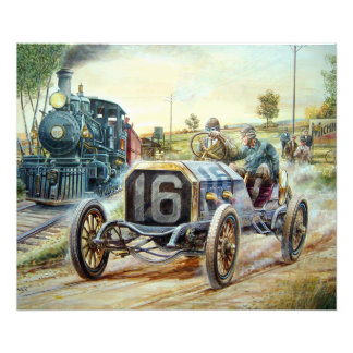 Vintage Cars Racing Scene,train painting Photograph