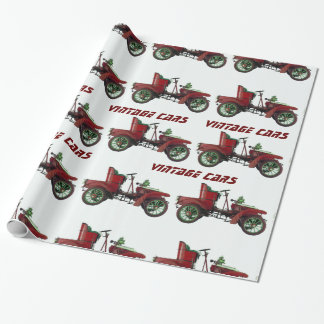 VINTAGE CARS Red Black White Wrapping Paper