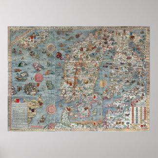 Vintage Carta Marina Scandinavia Map Poster