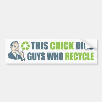 Vintage Cartoon Man Funny Recycle Slogan Bumper Sticker
