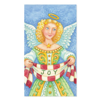 Vintage Cartoon Merry Christmas Angel with Joy Business Card Template