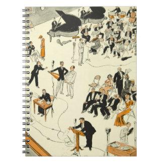 Vintage Cartoon Radio Program Musicians Funny Notebook