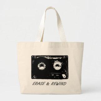 Vintage cassette design! large tote bag