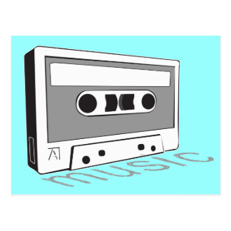 vintage cassette tape postcard