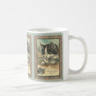 "Vintage cat and mouse ""waiting for me?"" basic white mug"