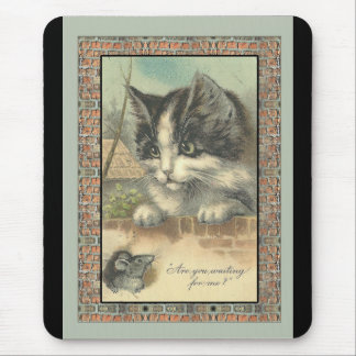 "Vintage cat and mouse ""waiting for me?"" mouse pad"