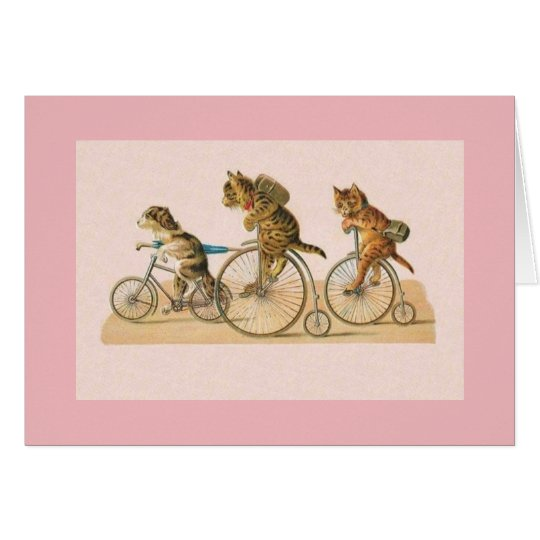 Vintage Cat and Puppy Bike Ride Note Card